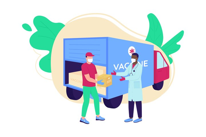 Vaccine delivery flat concept vector illustration