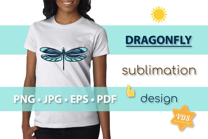 Colorful Dragonfly_Vector Illustration_Sublimation_Print_