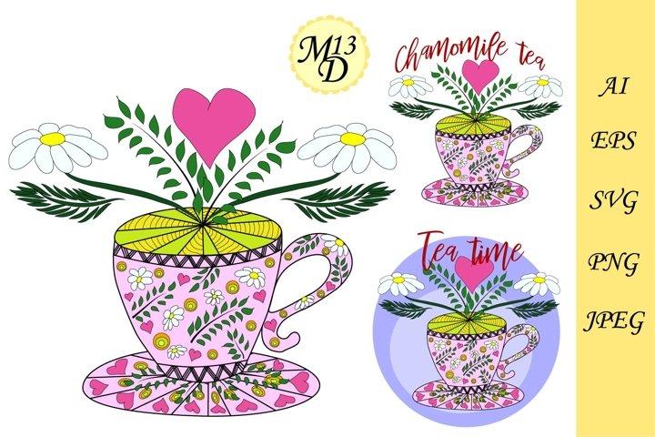 Chamomile tea, herbal teas. Tea cooked with love