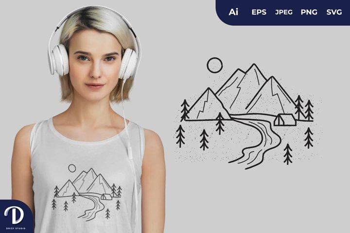 Adventure Landscape Illustrations for T-Shirt Design