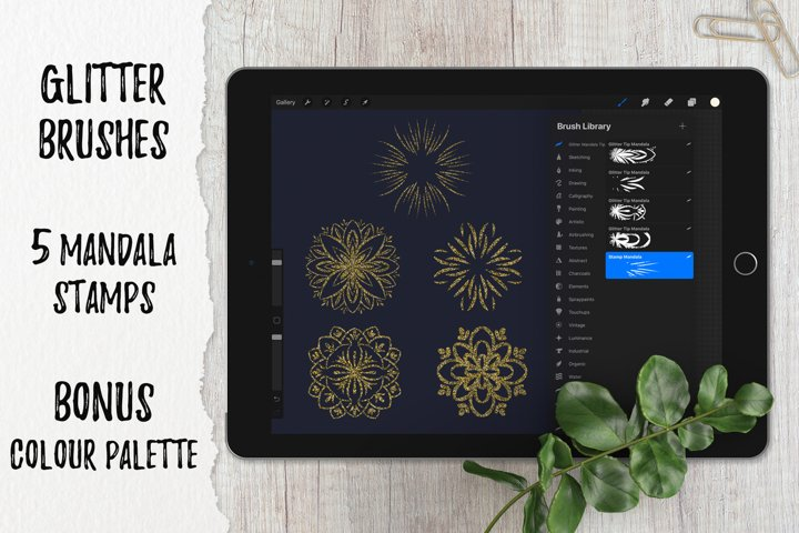 Procreate brush |5 Glitter Mandala Tip Stamp