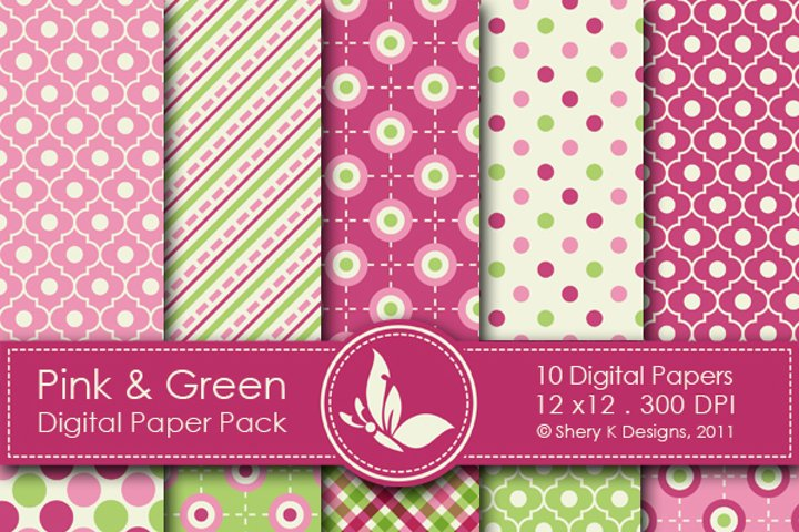 Pink & Green Paper Pack - 10 Printable Digital papers - 12 x12 - 300 DPI