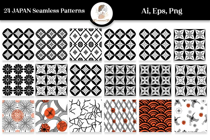 JAPANESE SEAMLESS PATTERNS DIGITAL VECTOR PAPERS