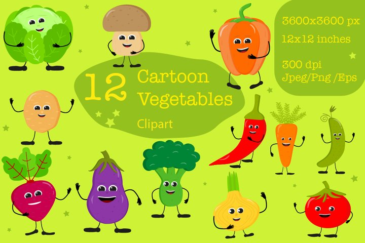 12 Cartoon vegetables with funny emotions. Clipart