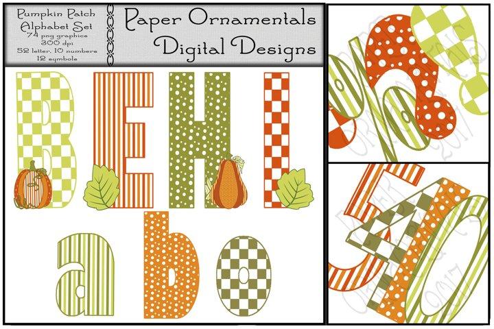 Autumn Clip Art, Pumpkin Patch Alphabet Set