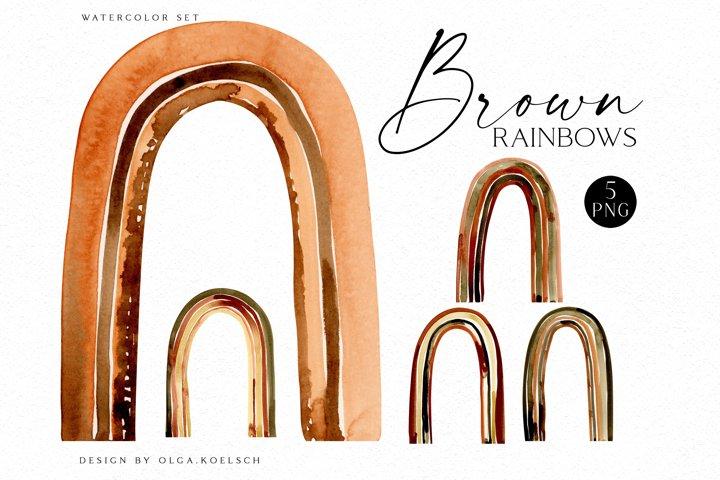 Watercolor brown rainbow clipart, Boho rainow scrapbooking