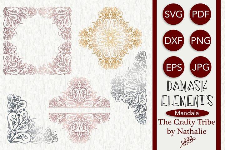 Damask SVG Mandala Frame Full and Half Monogram Frame Bundle