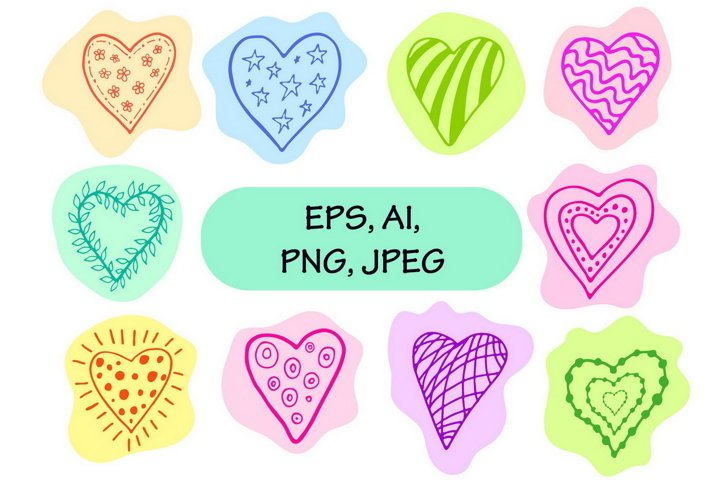 Colorful Valentines Day hearts clipart in doodle style