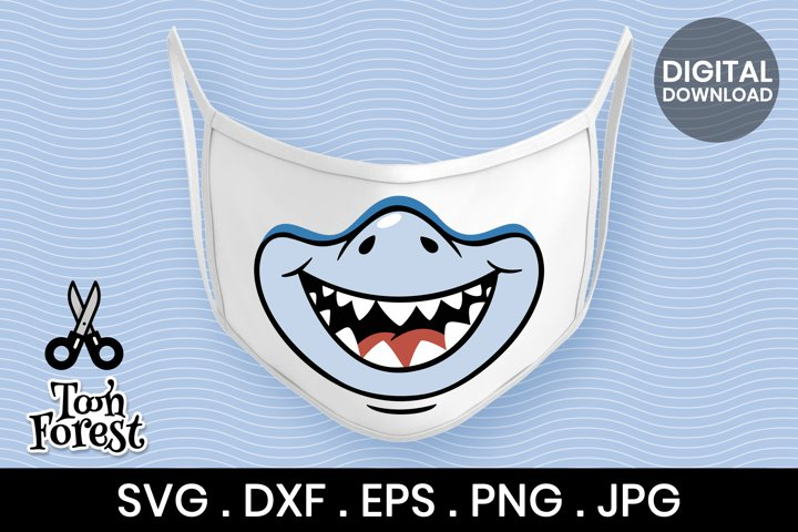 Shark SVG, DXF, EPS, and PNG cut files for face mask