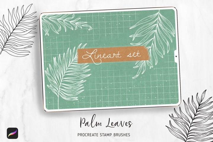 Lineart Palm Procreate Brushes Stamps, Floral Brush