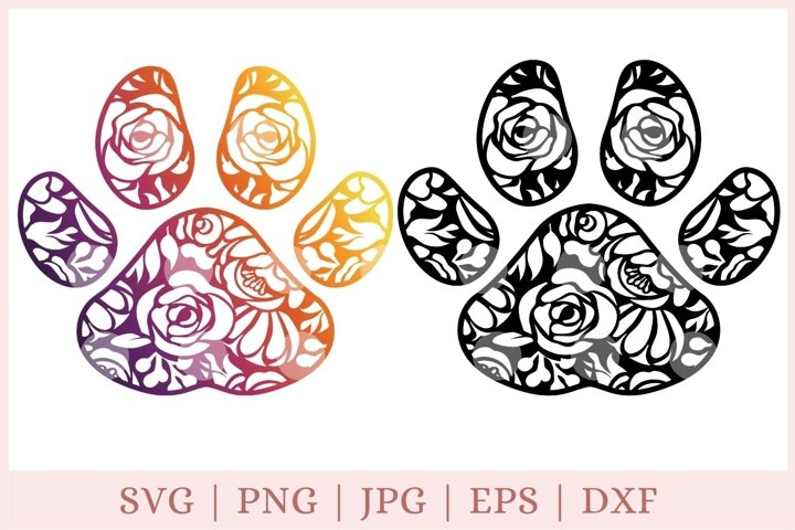 Floral dog Paw SVG, Animal Paw cut file