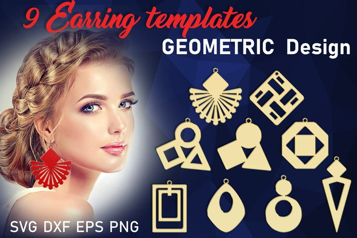 9 Geometric Leather earrings svg bundle Necklace svg