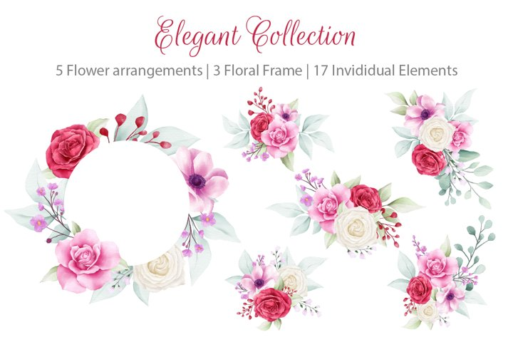 Elegant Watercolor Flowers Bouquet and Frame Collection