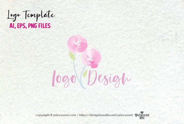 premade logo design, watercolour floral logo, Feminine Logo