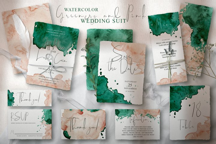 Green and Pink Wedding Invitation Suit