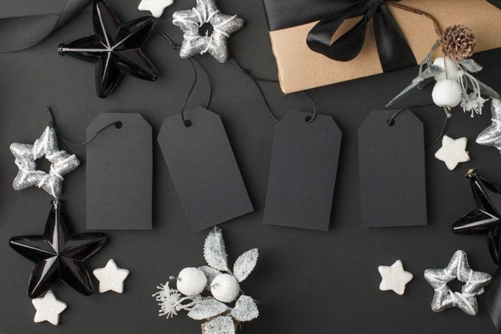 Black Friday blank template tag label with silver stars