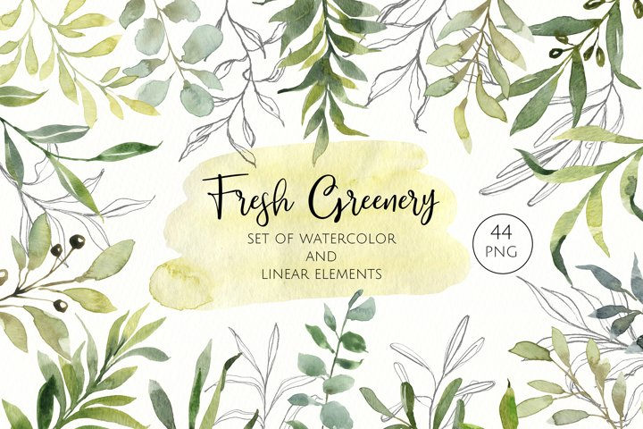 Green watercolor and linear leaves clipart. Modern greenery