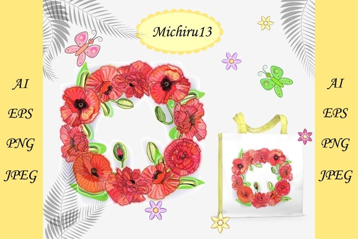 Wreath of watercolor poppies, congratulation template. frame