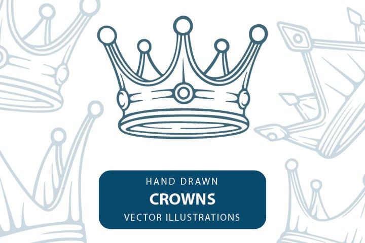 Crown hand drawn vector illustrations set.