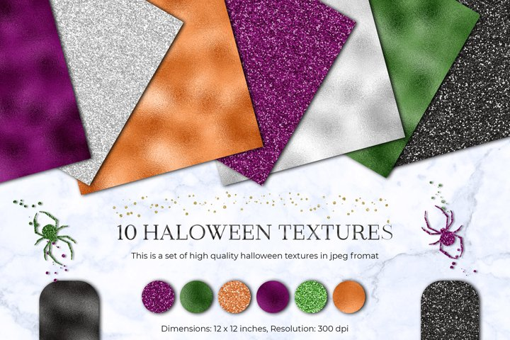 Halloween Glitter and Foil Digital Paper Pattern Background