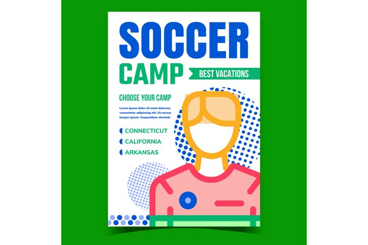 Soccer Camp Creative Promotional Poster Vector