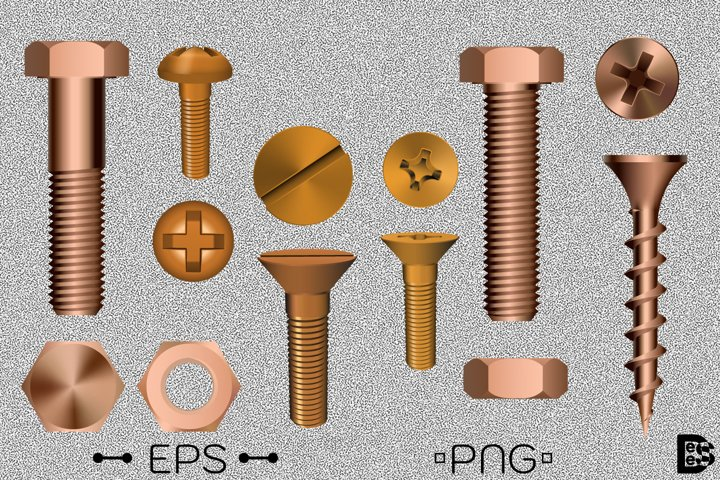 Copper bolt and screw clipart Pack. Vector illustration