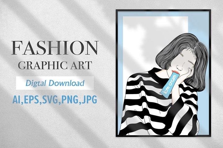 Fashion Graphic Art Girl eating ice cream