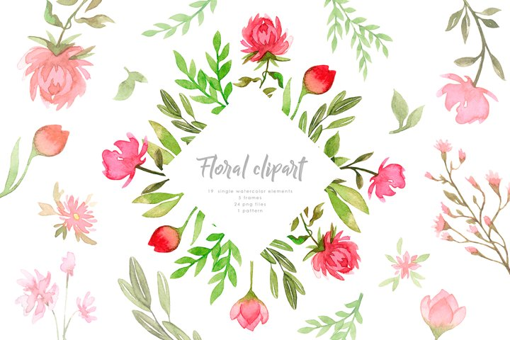 Pink Watercolor Botanical Flowers Clipart