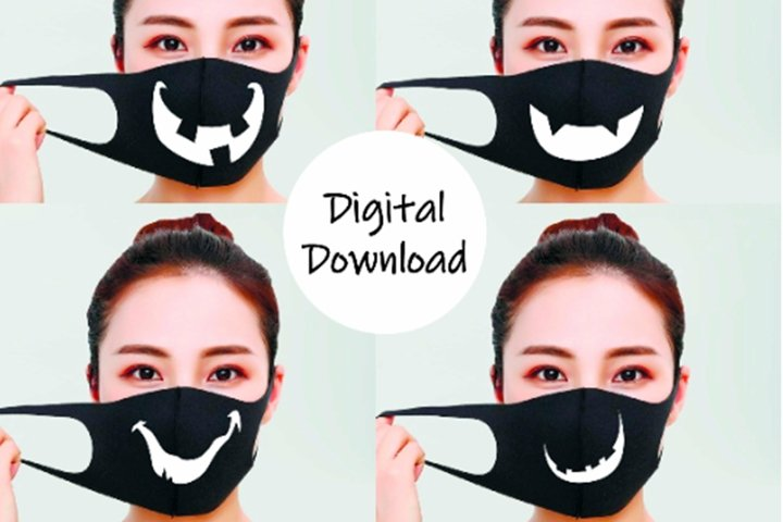 Smile svg for Face mask decor. Clipart digital print.
