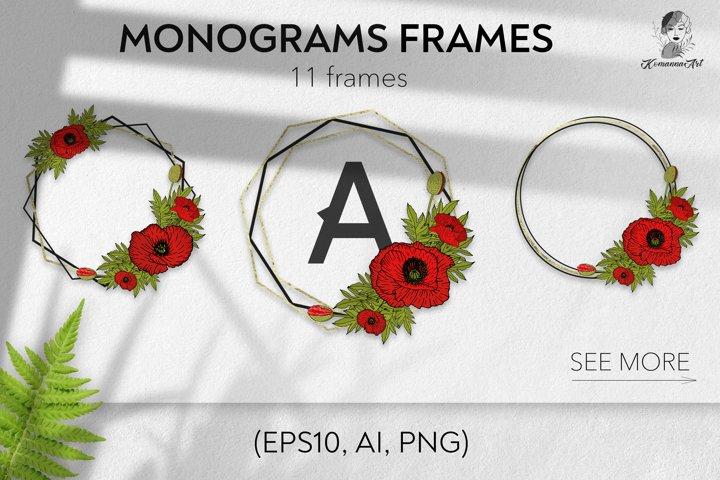Poppies monograms bundle, vintage geometric sublimations