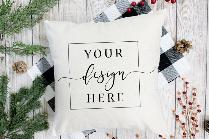 Christmas Winter Pillow Mockup In Rustic Farm House Style