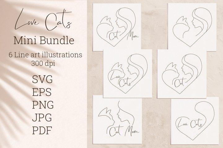 Cat mom bundle. SVG. PNG. EPS. JPG. PDF.