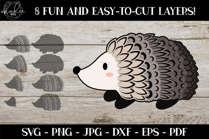 Hedgehog Mandala SVG, 3D Layered Hedgehog, Forest Animal SVG