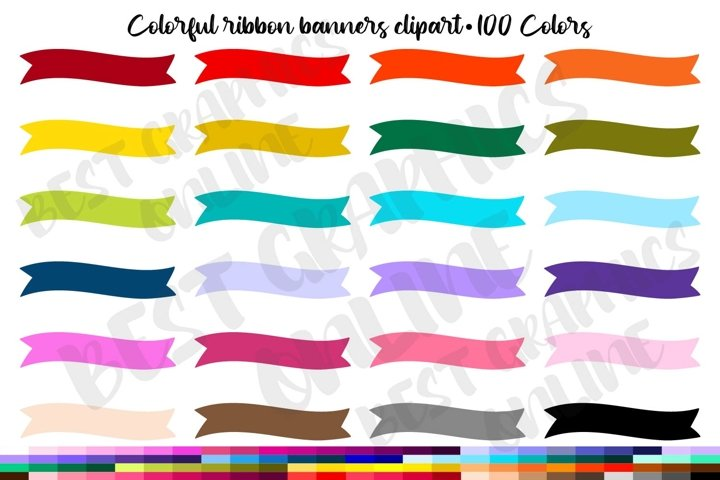 100 Curved Banners Clipart Set, Colorful banner clip art set