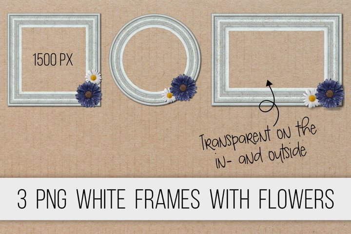 Wooden frames white with flowers PNG clipart