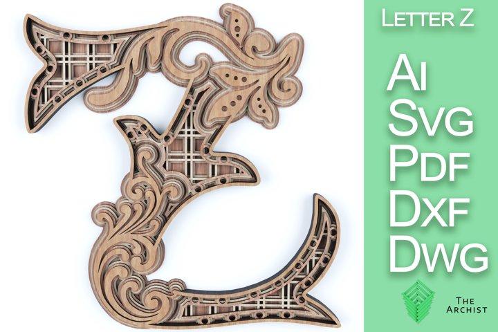 Multilayered svg, alphabets Letter Z artist floral letter
