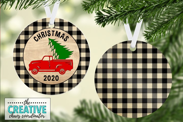 Red Truck Rustic Christmas Ornament Template