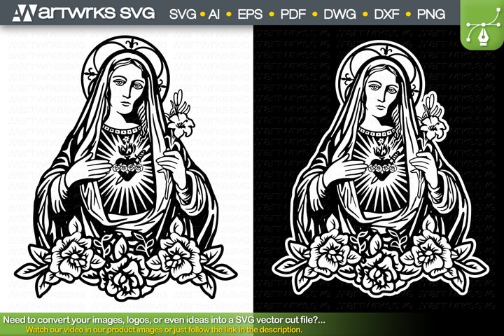 Virgin Mary Immaculate Heart Religious svg by Artworks SVG