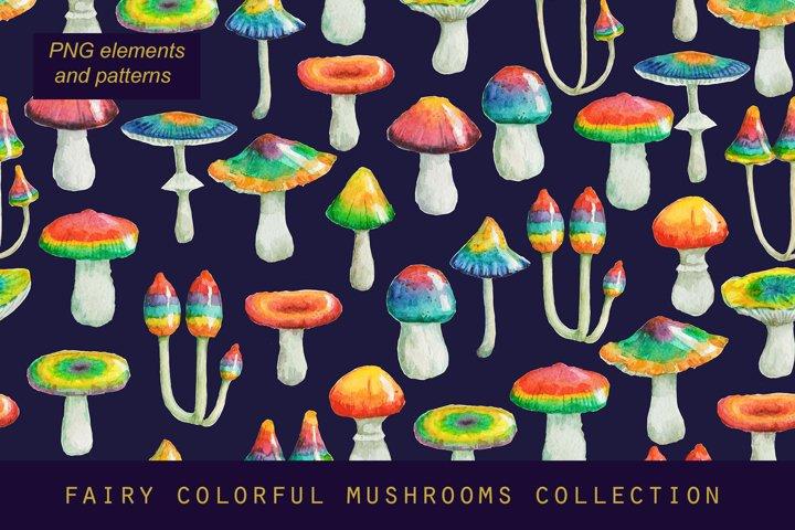 Watercolor psychedelic fairy mushrooms