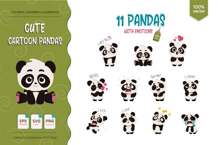 11 cartoon pandas with emotions