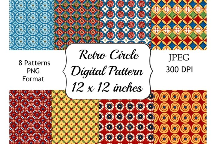 Retro Geometric Circle Digital Patterns, 12 x 12 Paper Pack