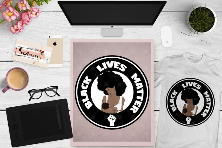 Black Lives Matter, Afro Woman and baby, Mommy and me SVG