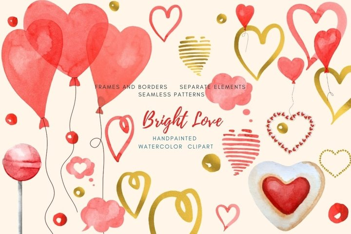 Valentines Day watercolor clipart set.