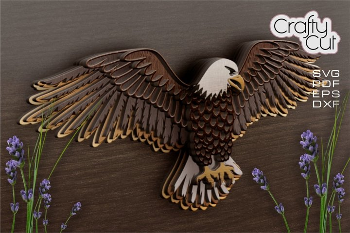 Multilayer Bald Eagle SVG, DFX Laser Cut Files