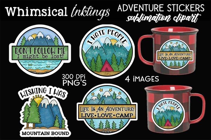 Adventure Stickers Sublimation Clipart Set