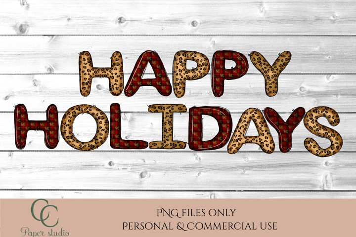 Sublimation design - Happy holidays - Tartan & Cheetah