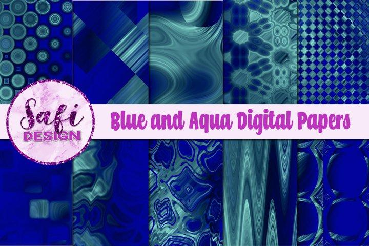 Blue and Aqua Digital Papers