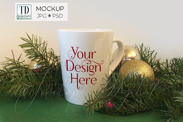 Mug Mockup with Christmas Tree Branches, PSD JPG Cup Mock-Up