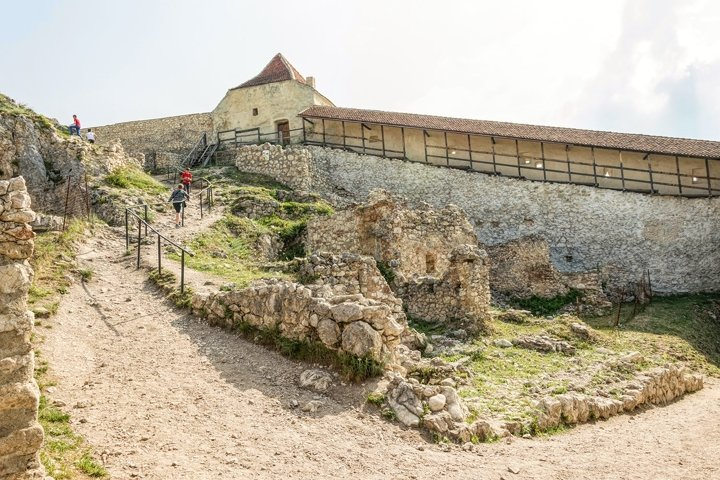 Medieval fortress on a hill. Ancient Rasnov, Romania