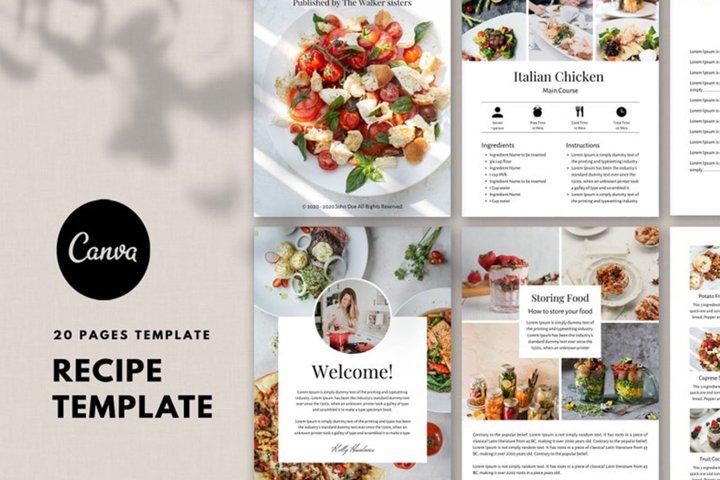 Recipe template, Recipe Ebook, Food, Cookbook template canva